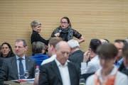 Ramona Thalmann-Hüsler, Vizepräsidentin JCVP, mit einem Votum (Bild: Pius Amrein, Hildisrieden, 2. April 2019)