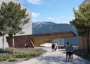 Eine Visualisierung der neuen Konzerthalle in Andermatt. (PD)