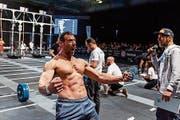 Tobias Zogg schreit seine Freude über den Sieg in der Altersklasse Master 35+ förmlich heraus. (Bild: Cross-Fit Italian Showdown)