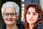 Die 69-jährige Pia Hollenstein (links) und die 17-jährige Miriam Rizvi diskutieren in der Denk-Bar über den Klimawandel und wie man ihn stoppen kann. (Bilder: Peter Klaunzer/Urs Bucher)