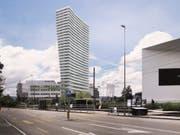 Das geplante Hochhaus in Münchenstein BL mit dem Schaulager im Vordergrund. (Bild: Visualisierung Harry Gugger Studio)