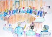 Die Angeklagten im Winterthurer Bezirksgericht. (Gerichtszeichnung: Keystone/Linda Graedel, 1. Oktober 2018)