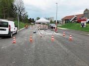 Der Bau der Mittelinsel auf der Wittenbacherstrasse. (Bild: PD)