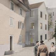Der neue Eingangsbereich für den Schtei. Visualisierung: Hutter Architekten