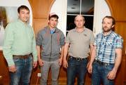 VR-Präsident Werner Hofmänner mit dem Trocknungsteam Daniel Wessner (neu), Roman Stoop, Thomas Stricker, von links. (Bild: Hansruedi Rohrer)
