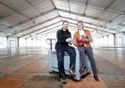 Erich Herzog (links) und Georges Helfenstein haben viel in die Planung der «Choma» investiert. Bild: Stefan Kaiser (Cham, 5.April 2019)