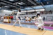 Fechter bei einem Wettkampf in der Maihofhalle, der eine kantonale Bedeutung zugeschrieben wird. (Bild: Philipp Schmidli, Luzern, 24.September 2017)