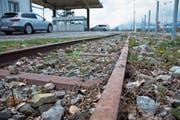 Weil das Gleis des Rheinbähnli beim Kriessner Zoll über die Strasse führt, muss es weichen. (Bild: Kurt Latzer)