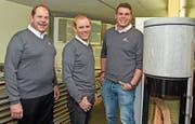 Sie bestimmen heute die Geschicke der Firma: Benno Dillier, Marcel Dillier und Andreas Dillier (von links). (Bild: Robert Hess (Sarnen, 29. April 2019))