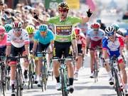 Der Slowene Primoz Roglic freut sich in La Chaux-de-Fonds über seinen Sprintsieg in der 1. Etappe der Tour de Romandie (Bild: KEYSTONE/LAURENT GILLIERON)