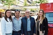 Das Team von Marketing Buchs freut sich über den zunehmenden Erfolg des Abendmarktes: Gina Züger, Geschäftsleiter Harry Müntener, Präsident Herbert Bokstaller und Sarah Bolter (von links). (Bild: Thomas Schwizer)