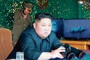 Angebliches Foto von Nordkoreas Machthaber Kim Jong Un bei einem der kürzlichen Raketentests. (Bild: AP)