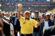 Der südafrikanische Präsident Cyril Ramaphosa bei einer Wahlkundgebung. Bild: Ben Curtis/AP (Johannesburg, 5. Mai 2019)