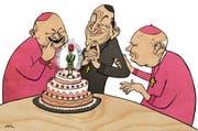 Den katholischen Herren läuft ob des leckeren Schweizer Gardisten das Wasser im Mund zusammen.