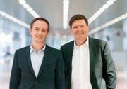 Mit Robert Stadler (links) und Hansjörg Brunner wurden zwei bekannte Persönlichkeiten für die neue Wirtschaftsorganisation gewonnen. (Bild: PD)