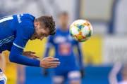 Luzern-Offensivmann Pascal Schürpf spielt immer mit Willen und Leidenschaft. Bild: Urs Flüeler/Keystone (Luzern, 13. April 2019)
