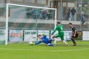Heisse Torszene beim Spiel SC Brühl gegen FC Breitenrain vom Samstag im Paul-Grüninger-Stadion in St.Gallen. (Bild: PD)