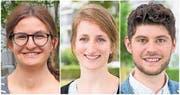 Die drei Nominierten für die Nationalratswahlen: Julia Küng, Michèle Willimann und Luzian Franzini (von links). (Bilder: PD)