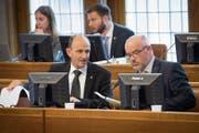 Für die Regierungsräte Matthias Weishaupt und Köbi Frei ist es am Dienstag die letzte Kantonsratsdebatte in ihrer Amtszeit. (Bild: Ralph Ribi (8. Mai 2017))