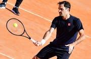 Roger Federer am Dienstagmorgen beim Training in Rom. (Bild: EPA/Ettore Ferrari, Rom, 14. Mai 2019)