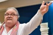 Martin Meuli, Chirurgischer Direktor des Kinderspital Zürich, an der Medienkonferenz. (KEYSTONE/Walter Bieri)