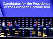 Die Debatte am Mittwoch der Top-Kandidaten der sechs grössten Fraktionen im EU-Parlament. (Bild: KEYSTONE/EPA/OLIVIER HOSLET)