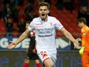 Der Torschütze Bastien Toma schiesst den FC Sion ins Glück. (Bild: KEYSTONE/SALVATORE DI NOLFI)