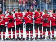 An dieses Bild vom siegreichen Schweizer Team kann man sich an der Eishockey-WM gewöhnen (Bild: KEYSTONE/MELANIE DUCHENE)