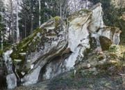 Der sagenumwobene Chindlistein bei Heiden aus Sandstein. (Bild: Georg Aerne)