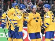 Schweden, am Samstag nächster Gegner der Schweiz, schoss sich gegen Österreich ein (Bild: KEYSTONE/EPA/CHRISTIAN BRUNA)