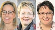 Von links nach rechts: Rosmarie Brunner (CVP), Carmen Hodel (parteilos) und Andrea Baumgartner (SVP) kandidieren für das Amt als Sozialvorsteherin. Bild: PD
