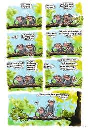 Da begann das Desaster: Als ein Uraffe auf die Schnapsidee kam, zum Pinkeln vom Baum herunter zu steigen. (Bild: Rowohlt)