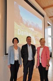 Karin Pfister (links) ist aus dem Verwaltungsrat ausgeschieden, ihr Nachfolger wurde Jürg Weber. Im Bild rechts: Verwaltungsratspräsidentin Christine Bolt. (Bild: Sabine Camedda)