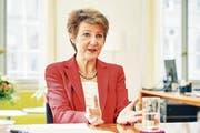 SP-Bundesrätin Simonetta Sommaruga sieht die Klimajugend in der Tradition der Alpen-Initiative. (Bild: Colin Frei (Bern, 15. Mai 2019))