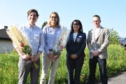 Adrian Höhener und Sandra Nater, neue Verwaltungsräte der Appenzellerland Tourismus AG, mit Präsidentin Monika Bodenmann und Geschäftsführer Urs Berger. (Bild: Mea Mc Ghee)