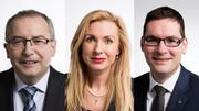 Für diese Bisherigen könnte es im Herbst an den Nationalratswahlen eng werden: Thomas Ammann (CVP, SG), Barbara Keller-Inhelder (SVP, SG) und David Zuberbühler (SVP, AR). (Bilder: PD)