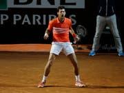 Novak Djokovic jubelt über einen gewonnenen Punkt gegen den Argentinier Juan Martin Del Potro im Viertelfinal von Rom (Bild: KEYSTONE/AP/ALESSANDRA TARANTINO)