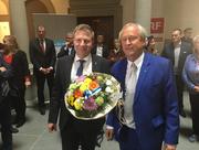 Erfreut über das Wahlergebnis: Marcel Schwerzmann (links) und Paul Winiker. (Bild: Janick Wetterwald)
