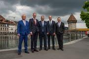 Der Luzerner Regierungsrat (von links): Paul Winiker, Reto Wyss, Guido Graf, Fabian Peter und Marcel Schwerzmann. (Bild: Dominik Wunderli)
