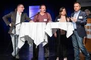 Diskutierten über Humor und psychische Gesundheit, von links: Daniel Ziegler, Mario Sonderegger, Valérie Luterbacher und Jürg Engler.