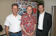 Sie prägten die Versammlung: Christoph Zumstein, neugewählter Verwaltungsrat Obwalden Tourismus (OT), Otto Steiner, Referent, und Florian Spichtig, VR-Präsident OT (von links). (Bild: Primus Camenzind, Sarnen, 1. Mai 2019)