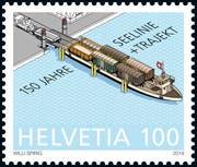 Die Jubiläumsmarke der Post mit dem Trajekt. (Bild: die Post)