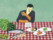 Nur Salat, Lachs, Avocado, Nüsse – aber kein Brot, keine Pasta, kein Zucker: Nils Binnbergs Speiseplan. (Bild: Illustration: Patric Sandri)