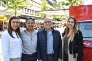 Das Team von Marketing Buchs freut sich über den zunehmenden Erfolg des Abendmarktes: von links Gina Züger, Geschäftsleiter Harry Müntener, Präsident Herbert Bokstaller und Sarah Bolter. (Bild: Thomas Schwizer)