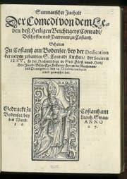 Das Titelblatt des Programmhefts von 1607. (Bild: Kantonsbibliothek Frauenfeld)