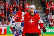 Die Schweiz verliert das letzte WM-Gruppenspiel gegen Tschechien mit 4:5. Im Bild der Schweizer Torschütze Tristan Scherwey. (Bild: Estelle Vagne/Freshfocus, Bratislava, 21. Mai 2019)