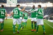 Grund zur Freude: Für den FC St.Gallen lief heute gegen YB alles nach Mass. (Bild: Urs Bucher)