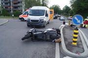 Der Unfall ereignete sich am Mittwochmorgen, 22. Mai, in Cham. (Bild: Zuger Polizei)