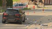 Der Unfall ereignete sich kurz nach der Agrola-Tankstelle in Fahrtrichtung Ricken. (Bild: BRK News/Beat Kälin)