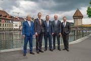 Da braut sich was zusammen: der Luzerner Regierungsrat. (Bild: Eveline Beerkircher, 19. Mai 2019)